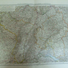 Harta color Germania Elsass - Lothringer Baden Wurttemberg si Rheinpfalz Leipzig 1899