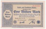 (4) BANCNOTA (NOTGELD) - GERMANIA - AACHEN - 1.000.000 MARK 1923 (20 IULIE 1923) , STARE FOARTE BUNA
