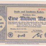 (4) BANCNOTA (NOTGELD) - GERMANIA - AACHEN - 1.000.000 MARK 1923 (20 IULIE 1923), STARE FOARTE BUNA