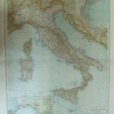 Harta color Italia Leipzig 1899 - Harta Italiei