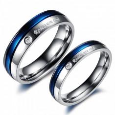 Inel Fashion Dama 2014 Din Titan Si Otel Inoxidabil Albastru Disponibil In Mai Multe Marimi - Inel inox