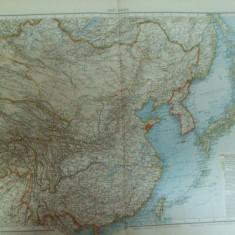 Harta color Asia de Est China Mongolia Japonia Coreea  Leipzig 1899