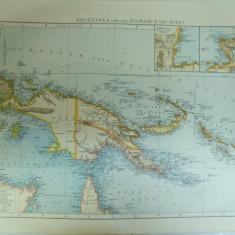 Harta color Noua Guinee si Arhipelagul Bismarck Insulele Pacificului de Sud Leipzig 1899