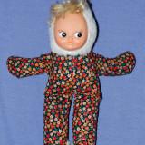 Papusa / papusica, fata din cauciuc, corp din material textil, anii '80
