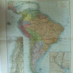 Harta color America de Sud Leipzig 1899