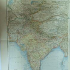 Harta color Asia Centrala India Pakistan Bangladesh Sri Lanka Afganistan Tibet  Leipzig 1899