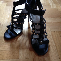 Sandale gladiator Nine West mas 37 - Sandale dama Nine West, Culoare: Negru, Negru