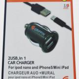 Set iPhone 5 cablu Griffin + incarcator auto dual Usb - Incarcator telefon iPhone, De masina