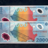 2 BANCNOTE 2 000 LEI 1999 (ECLIPSA), POLIMER, NECIRCULATE - SERII CONSECUTIVE - Bancnota romaneasca