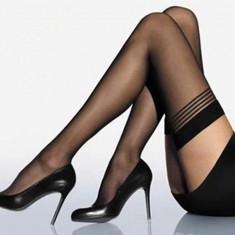 Ciorapi dama dres 20den model erotic pentru portjartier Stay Up Thigh High Stockings, Marime: Marime universala, Culoare: Negru, universala, Subtire