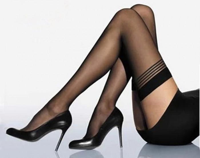 Ciorapi dama dres 20den model erotic pentru portjartier Thigh High Stockings