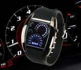 Ceas LED - Design forma  Bord Auto Turometru - Vitezometru Lumina Albastra