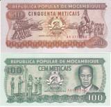 Bancnota Mozambic 50 si 100 Meticais 1986/ 89 - P129b/ 130c UNC ( set x2 )