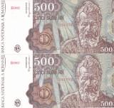 Bancnota Romania 500 Lei ianuarie 1991 - P98a UNC (2 bancnote serii consecutive)