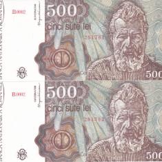 Bancnota Romania 500 Lei ianuarie 1991 - P98a UNC (2 bancnote serii consecutive) - Bancnota romaneasca