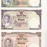 Bnk bn thailanda coala netaiata 1+5+10 baht unc, comemorativa