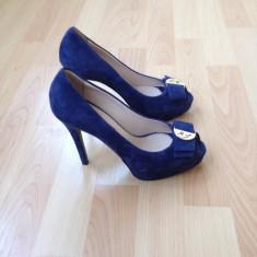 Pantofi piele originali Marino Fabiani-Italia - Pantof dama, Culoare: Albastru, Marime: 37, Albastru