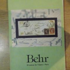 BEHR, CATALOG PENTRU LICITATII DE TIMBRE, JANVIER A MAI 2003, PARIS