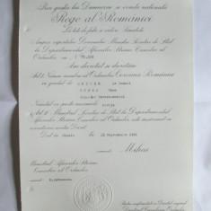 RARITATE! BREVET MIHAI I ORDINUL COROANA ROMANIEI IN GRAD DE OFITER DIN 23 SEP.1941