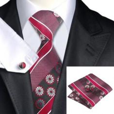 SET Cravata matase butoni batista JASON&VOGUE jacquard rosu grena dungi flori, Geometric