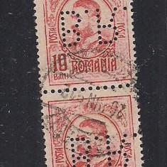 No(08)timbre-Romania 1908-L.P.66-  Carol I gravate -PERFIN  B.R.-10 bani
