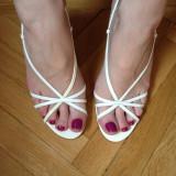 Sandale ivoire Nine West mas 37 - Sandale dama Nine West, Culoare: Alb, Alb