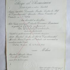 RARITATE!!! BREVET MIHAI I ORDINUL COROANA ROMANIEI IN GRAD DE OFITER DIN 14 IULIE 1942