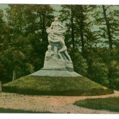 306 - Rm. VALCEA, Monumentul STIRBEY, Park Zavoi - old postcard - used - 1919 - Carte Postala Oltenia 1904-1918, Circulata, Printata