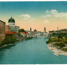 1082 - ORADEA, Synagogue, river Cris - old postcard - used - 1917 - Carte Postala Crisana 1904-1918, Circulata, Printata