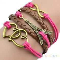 Bratara Fashion Handmade Piele + Lant DIY - TURNUL EIFFEL