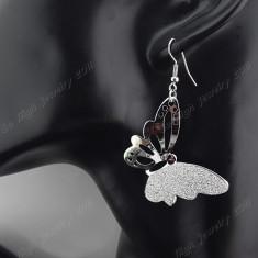 Cercei Fashion In Forma De Fluture Placati Argint