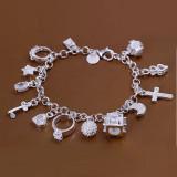 Bratara Placata Argint 925 - Accesorii Atasate: cruce, inel, inima, cheie, lacat