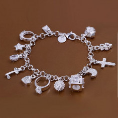 Bratara Placata Argint 925 Cu Diferite Mini Accesorii Atasate De Ea