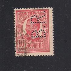 No(08)timbre-Romania 1908-L.P.66-  Carol I -PERFIN  B.R.-10 bani
