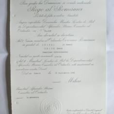 BREVET MIHAI I ORDINUL COROANA ROMANIEI IN GRAD DE OFITER DIN 23 SEP.1941