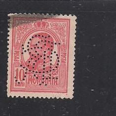 No(08)timbre-Romania 1908-L.P.66- Carol I gravate -PERFIN B.C.R.-10 bani