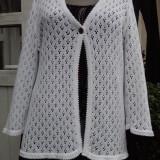 Cardigan / blezer model crosetat, alb, marimea L