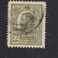 No(08)timbre-Romania 1908-L.P.66-  Carol I gravate -PERFIN  B.N.R.-15 bani
