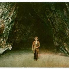 603 - Banat, Baile HERCULANE, Cave and little man - old postcard - used - Carte Postala Banat 1904-1918, Circulata, Printata