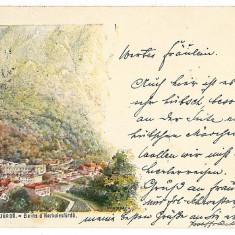 524 - L i t h o, Banat, Baile HERCULANE - old postcard - used - 1899 - Carte Postala Banat pana la 1904, Circulata, Printata