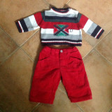 Set pantaloni dublati din reiat si pulover, 3 luni