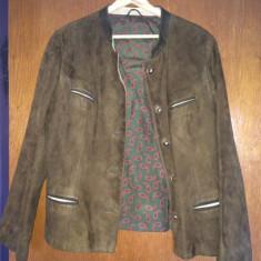 Jacheta de dama, din piele nabuk, mas. L - Jacheta dama, Marime: L, Culoare: Maro