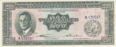 "Bancnota Filipine 200 Pesos (1949) - P140 UNC  (seria ""englezeasca"") foto"