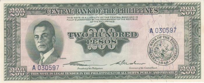 "Bancnota Filipine 200 Pesos (1949) - P140 UNC  (seria ""englezeasca"") foto mare"