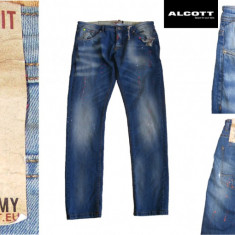 ALCOTT Jeans Italia SLIM FIT Paint Jeans- Blugi Barbati, Marime W 32/33