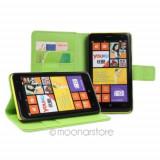 Toc piele neagra verde flip Nokia Lumia 625