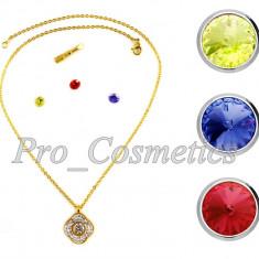 Lantisor Inox cu Pandantiv Flower Power + Set 3 pietre de schimb - Lant si Pandantiv din Otel Inoxidabil - Set bijuterii inox