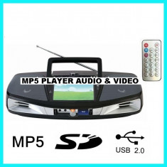 MP5 MEDIA PLAYER AUDIO SI VIDEO CU STICK USB, CARD, RADIO FM, MICROFON, KARAOKE, TELECOMANDA, ACUMULATOR, NOU 2014.SUNET HI FI.