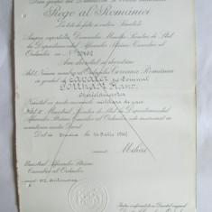 RARITATE!!! BREVET MIHAI I ORDINUL COROANA ROMANIEI IN GRAD DE CAVALER DIN 14 IULIE 1942