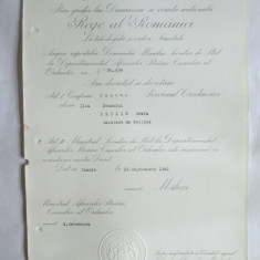 BREVET MIHAI I CRUCEA SERVICIUL CREDINCIOS CLASA II-A DIN 23 SEPT. 1941